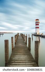 Lighthouse at Lake Neusiedl (Podersdorf am See) at sunset, Burgenland, Austria