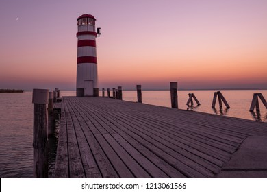 Lighthouse at Lake Neusiedl in Podersdorf am See at sunset, Burgenland, Austria