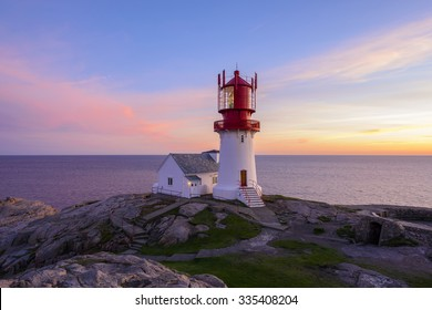 Lighthouse Lindesnes Fyr at evening on most southern point of Norway