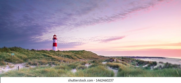 Lighthouse List and beautiful coastal landscape of the german North Sea Island Sylt, Germany, Europe
