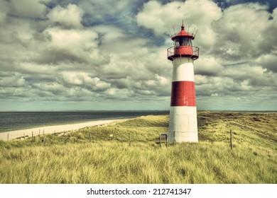 Lighthouse List and beautiful coastal landscape of the german North Sea Island Sylt, HDR, Germany, Europe, vintage style, Leuchtturm List auf der Nordseeinsel Sylt, Deutschland, Europa