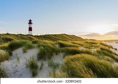 Lighthouse List East at sunset, Ellenbogen, Sylt, Schleswig-Holstein, Germany