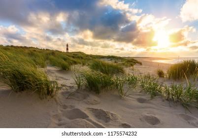 Lighthouse List-Ost on the island Sylt, Germany