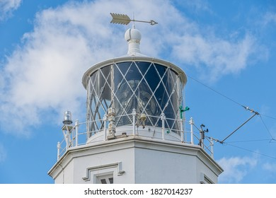 Lighthouse at Lizard Point in Cornwall England which is the most southern point in mainland England