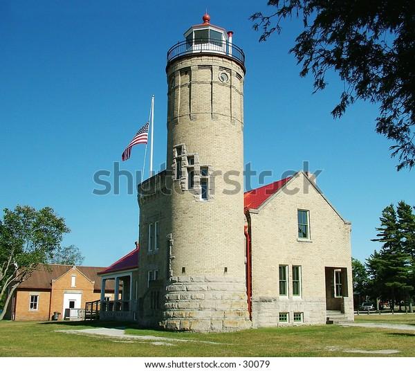 Lighthouse at Mackinaw Bridge Michgan.