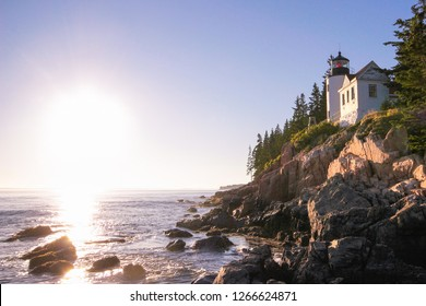 Lighthouse in Maine,Usa. Backlit as seen from the water