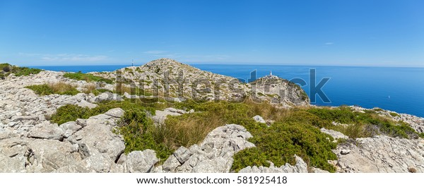 Lighthouse in Mallorca formentor panorama,View of Lighthouse at Cap de Formentor