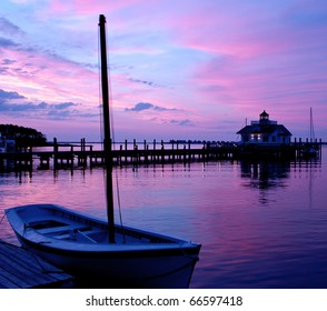 The lighthouse in Manteo, North Carolina on Roanoke Island at Sunrise.