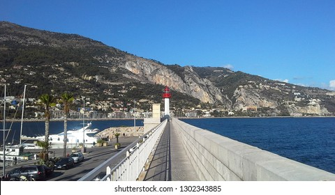 Lighthouse of Menton, a commune in the Alpes-Maritimes department in the Provence-Alpes-Cote of Azur region in southeastern France.