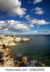 Lighthouse in Methana port, Greece