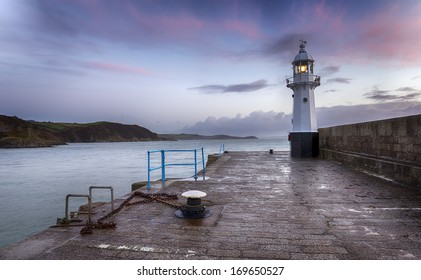 The lighthouse at Mevagissey on the south coast of Cornwall