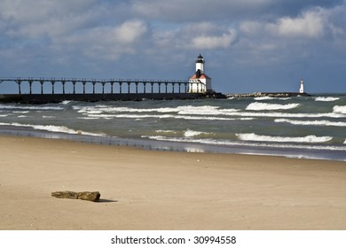 Lighthouse in Michigan City, Indiana.