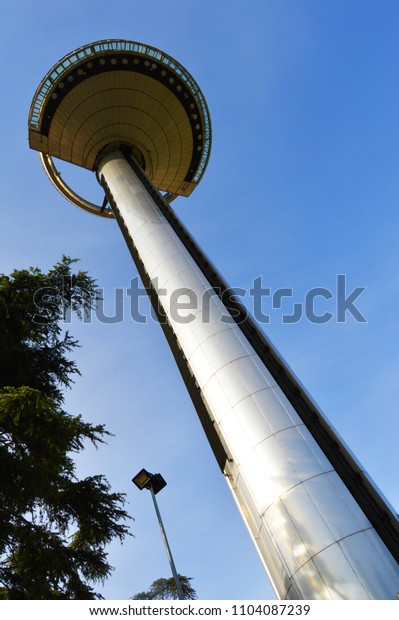 lighthouse of Moncloa seen from below in Madrid. Spain