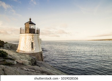 Lighthouse in the morning in Rhode Island