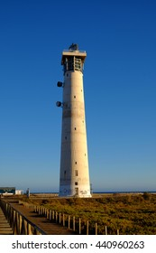 A lighthouse in Morro Jable, the simbol and attraction of this place in Fuerteventura.