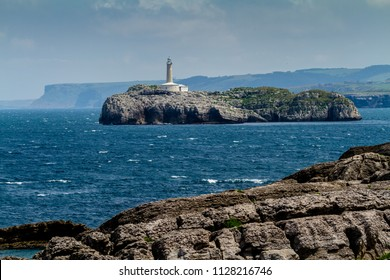 Lighthouse at the Mouro island, Santander, Spain