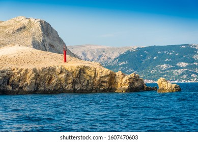 Lighthouse near the Baska town on the south side of the island Krk, Croatia