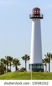 A lighthouse near the beach surrounded by palm trees.
