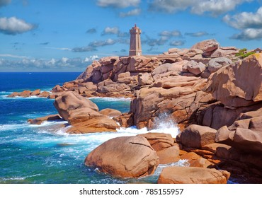 Lighthouse near Ploumanach in Brittany called Phare de Mean Ruz at Cote de Granite Rose,France
