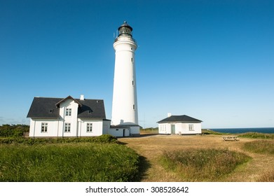 A lighthouse nearby Hirtshals city in Denmark