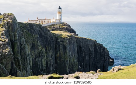 LIGHTHOUSE NEAST POINT, SCOTLAND - OCTOBER 10 2018: Beautiful Lighthouse Nest Point, Isle of Sky, Scottland, Great Britain