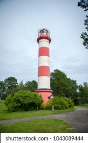 Lighthouse in Nida, Lithuania. Nida Lighthouse is located in Nida, on the Curonian Spit in between the Curonian Lagoon and the Baltic Sea. lighthouse in Nida was constructed in the 1860s and 1870s.