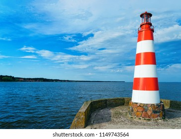 Lighthouse in Nida near Klaipeda in Neringa in the Curonian Spit and the Baltic Sea, in Lithuania.