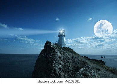 Lighthouse at nighttime. Japanese sea.