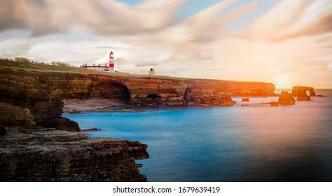 Lighthouse in the north east coast  - Shutterstock ID 1679639419
