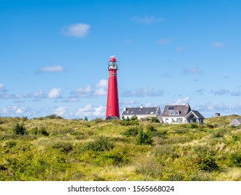 Lighthouse North Tower and houses in Westerduinen dunes on Frisian island Schiermonnikoog, Netherlands