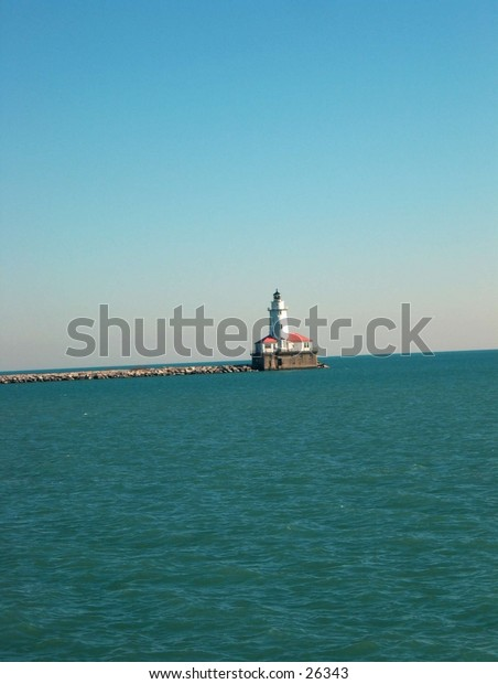 Lighthouse off the coast of Chicago
