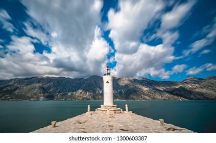 Lighthouse on the artificially built island of Our Lady on the Rock near Perast, Montenegro