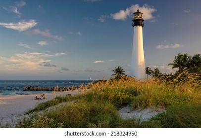 Lighthouse on the Beach, Cape Florida Lighthouse, Bill Baggs Cape Florida State Park, Florida, USA