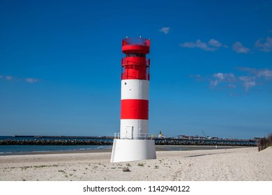 Lighthouse on the beach at Helgoland, Germany