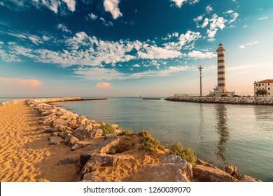 Lighthouse on the beach of Lido di Jesolo near Venice, Veneto region, Italy.