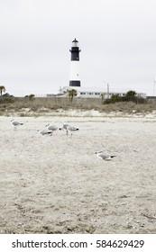 Lighthouse on the beach of Tybee Island, GA