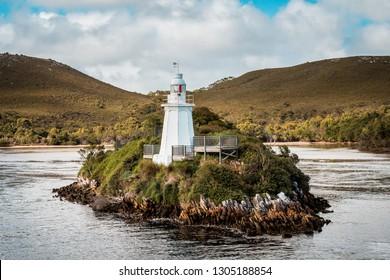 Lighthouse on Bonnet Island, Hells Gate, Macquarie Harbour in Western Tasmania, Australia