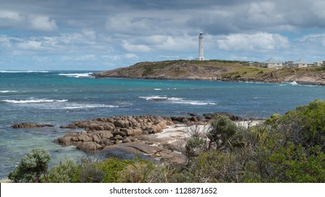 Lighthouse on Cape Leeuwin with panoranic view over the coastline at the most southwestern point of Australia