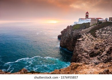 Lighthouse on Cape St. Vincent at sunset, Algarve, Portugal. This is the most South-Western point of Europe