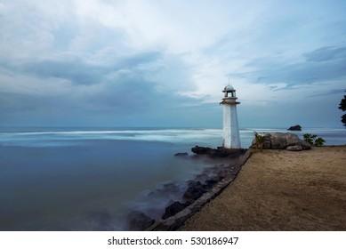 Lighthouse on the carita beach, banten, indonesia