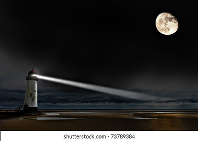 a lighthouse on the coast at night with beam of light and a big bright moon