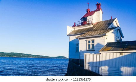 Lighthouse on the coastline of Norway, Oslofjord