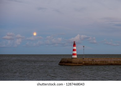 Lighthouse on the Curonian Spit in  Night seascape in Nida with moonlight.