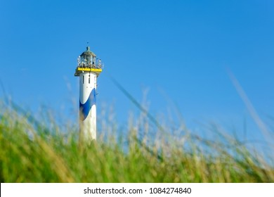 Lighthouse on dune, ostend, Belgium