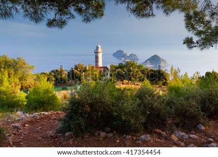 Lighthouse on Gelidonya peninsula in April. Beautiful outdoor scenery in Turkey, Asia. Evening on Mediterranean sea, Artistic style post processed photo.