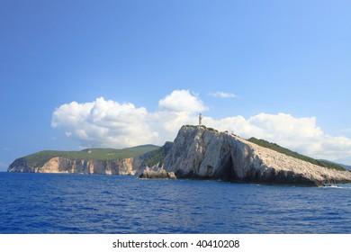 Lighthouse on the Ionian island of Lefkas Greece