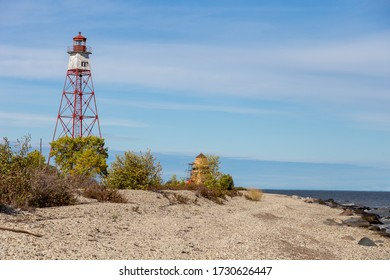 A lighthouse on an island