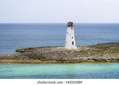 Lighthouse on an island on a cloudy day
