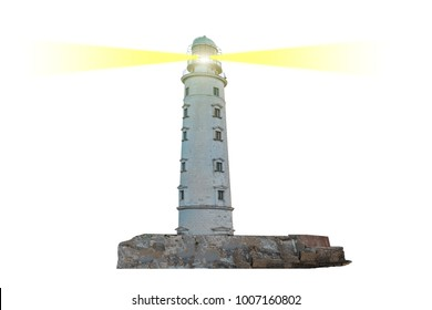 Lighthouse on island with dual searchlight beam through air isolated on white background