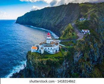 Lighthouse on the island of Faial. Azores